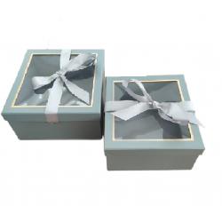 Κουτί χάρτινο σετ/2 πετρόλ 25.5x25.5xΧ12.5εκ JK Home Decoration 56352