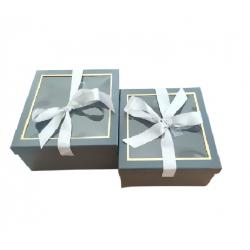 Κουτί χάρτινο σετ/2 μαύρο 25.5x25.5xΧ12.5εκ JK Home Decoration 56351
