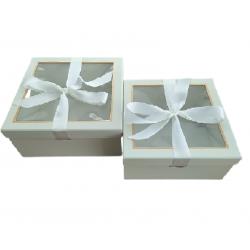 Κουτί χάρτινο σετ/2 εκρού 25.5x25.5xΧ12.5εκ JK Home Decoration 56350