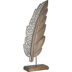 Φτερό επιτραπέζιο μεταλ/ξύλο ασημί/natural 17χ8χ46 INART 3-70-357-0149
