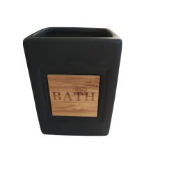 Ποτήρι για οδοντόβουρτσες μαύρο με μπαμπού 7,50Χ7,5Χ10 ANKOR 809721