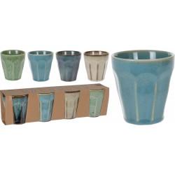 Ποτήρι κεραμικό 250ml σετ/4 JK Home Decoration 148750