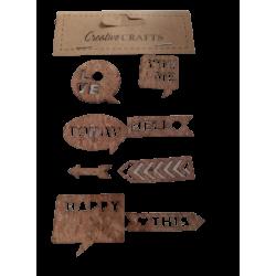 """Αυτοκόλλητα Stickers από φελλό & λινατσα """"ταμπελάκι """" JK Home decoration 958600-4"""