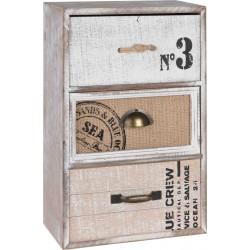 Μίνι συρταριέρα-μπιζουτιέρα ξύλινη 3 συρτάρια γκρι/φυσικό 20Χ10Χ30 JK HOME 803307