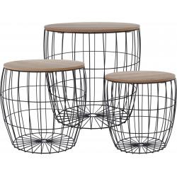 Τραπεζάκια μέταλλο /ξύλο Σετ/3 (41x41εκ / 38x36.5εκ / 31x31.5εκ ) JK Home Decoration 486005