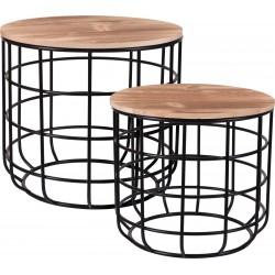 Τραπεζάκια μέταλλο /ξύλο Σετ/3 Φ41εκ /Φ38εκ/Φ31 εκ JK Home Decoration 486005