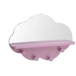 Ραφάκι σύννεφο με καθρέφτη & 4 κρεμάστρες ροζ 39Χ9Χ28εκ JK Home Decoration 113031-2