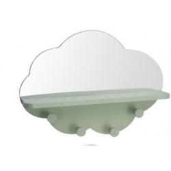 Ραφάκι σύννεφο με καθρέφτη & 4 κρεμάστρες βεραμάν 39Χ9Χ28εκ JK Home Decoration 113031-3