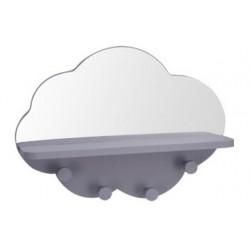 Ραφάκι σύννεφο με καθρέφτη & 4 κρεμάστρες γκρι 39Χ9Χ28εκ JK Home Decoration 113031-4