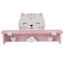 Ραφάκι ροζ γάτα & 3 κρεμάστρες 44,50Χ10Χ21,50εκ JK Home Decoration 729911-1