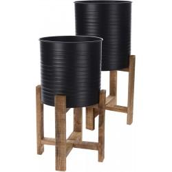 Κασπώ μεταλλικό μαύρο σε ξύλινη βάση σετ/2 27,50Χ27,50Χ58εκ JK Home decoration 488344