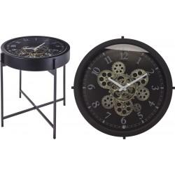Βοηθητικό τραπεζάκι μαύρο με ρολόι Φ40,5Χ41εκ JK Home Decoration 208386