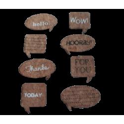 """Αυτοκόλλητα Stickers από φελλό & λινατσα """"μήνυμα """" JK Home decoration 958600-5"""