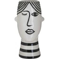Βάζο κεραμικό πρόσωπο άσπρο/μαύρο 13Χ12Χ26 εκ Inart 3-70-693-0032