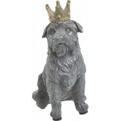 Σκύλος γκρι με χρυσή κορώνα polyresin 12x8x16 INART 3-70-456-0131