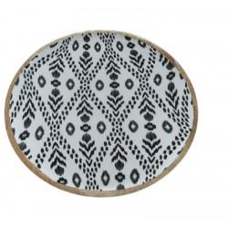 Πιατέλα ξύλινη στρογγυλή έθνικ 37,5 εκ JK Home Decoration 086465-1