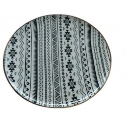 Πιατέλα ξύλινη στρογγυλή έθνικ 37,5 εκ JK Home Decoration 086465-2