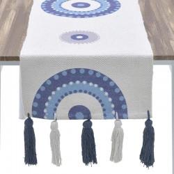 """Τραβέρσα βαμβακερή """"μάτι"""" λευκή/μπλε INART 3-40-485-0022"""