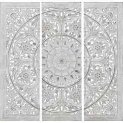 Διακοσμητικό τοίχου ξυλόγλυπτο αντ.λευκό 120χ120 INART 3-70-242-0020