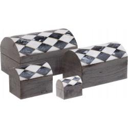 Κουτί Σετ / 4 Ασπρόμαυρο ξύλο/πολυρεζίνη 15,4Χ10,50Χ9,2εκ Inart 3-70-831-0004