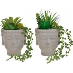 Γλάστρα σχέδιο Βούδας με φυτά (2 σχέδια) 20cm Inart 3-85-475-0233