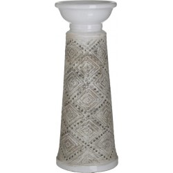 Κηροπήγιο κεραμικό αντ.λευκό/μπεζ Δ13χ33 INART 3-70-685-0224