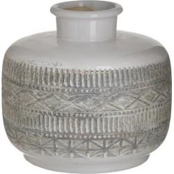 Βάζο κεραμικό αντ.λευκό/μπεζ Δ20χ20 INART 3-70-685-0228