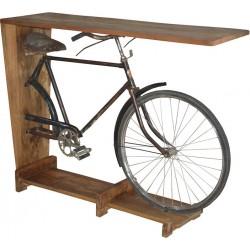 Κονσόλα ποδήλατο ξύλινη/μεταλλική μαύρη/natural 140x44x110cm Inart 3-50-695-0008