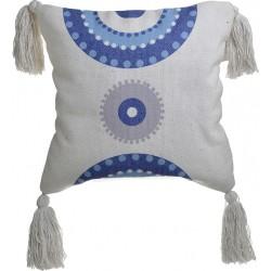 """Μαξιλάρι βαμβακερό """"μάτι"""" λευκό/μπλε 45χ45 INART 3-40-485-0025"""
