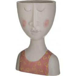 Βάζο διακοσμητικό πρόσωπο polyresin γκρι/κόκκινο 15x10x27εκ INART 3-70-039-0012