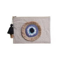 Τσαντάκι υφασμάτινο μπεζ με μάτι 28χ2χ20 INART - BLE - 5-42-806-0087