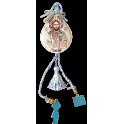 """Γούρι παιδικό- ασημένια εικόνα  """"Χριστός"""" ΓΠ-21/6Α"""