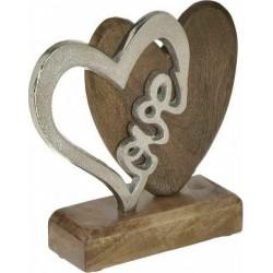 Διακοσμ. καρδιά ξύλο/μεταλ. natural/ασημι 17x5x15 INART 3-70-357-0160
