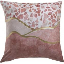 Μαξιλάρι σενιλ ροζ/χρυσό 45χ45 INART 3-40-359-0040
