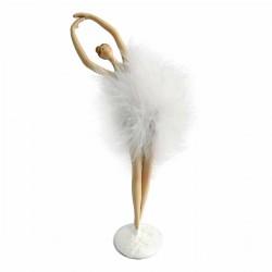 Μπαλαρίνα πολυρεζιν με λευκό φουρό 28cm JK Home Decoration  95562