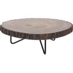 Πλατώ από φυσικό κορμό με μεταλλικά πόδια Φ29εκ Χ13εκ ύψος JK Home Decoration 670097