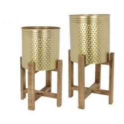 Κασπώ μεταλλικό χρυσό σε ξύλινη βάση σετ/2 27,50Χ27,50Χ58εκ JK Home decoration 030267