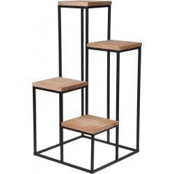 Ανθοστήλη ανισόπεδη 4 θέσεων ξύλο/μέταλλο φυσικό/μαύρο 34Χ34Χ67εκ JK Home Decoration 443015