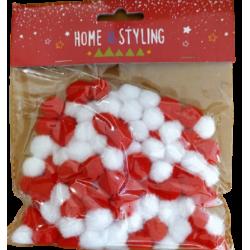 Πομ-πομ μίνι  Φ1,50 εκ σετ/150 τεμ mix κόκκινο/άσπρο JK Home Decoration 687668-A