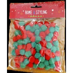 Πομ-πομ μίνι  Φ1,50 εκ σετ/150 τεμ mix κόκκινο/πράσινο JK Home Decoration 687668-B