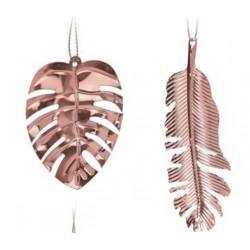 Στολίδι φύλλα  σετ/2 ροζ χρυσό JK Home Decoration 056703-C