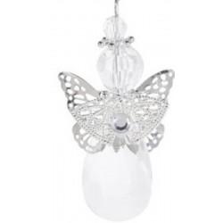 Αγγελάκι με κρύσταλλο PL ασημί φτερά  8 εκ JK Home Decoration 115516-B