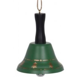 Καμπανάκι μεταλλικό πράσινο με ξύλινο χέρι  Φ6,50 Χ8,50 εκ JK Home Decoration 692451-B